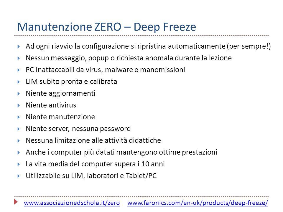 Manutenzione ZERO – Deep Freeze  Ad ogni riavvio la configurazione si ripristina automaticamente (per sempre!)  Nessun messaggio, popup o richiesta