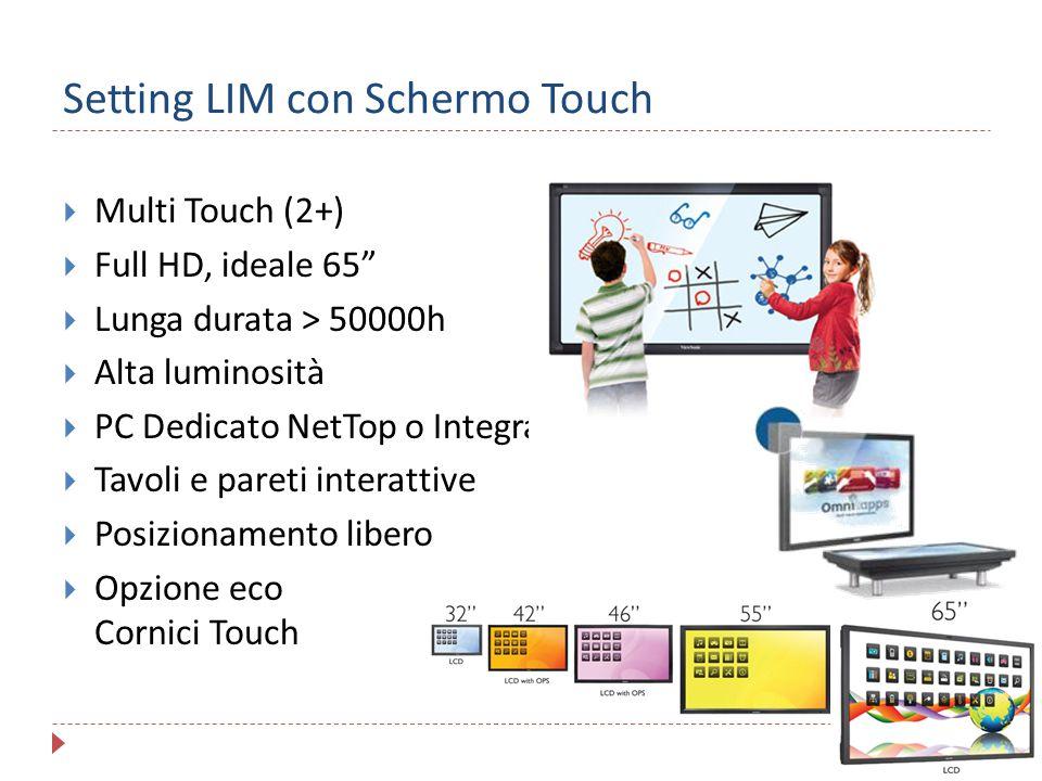 """Setting LIM con Schermo Touch  Multi Touch (2+)  Full HD, ideale 65""""  Lunga durata > 50000h  Alta luminosità  PC Dedicato NetTop o Integrato  Ta"""