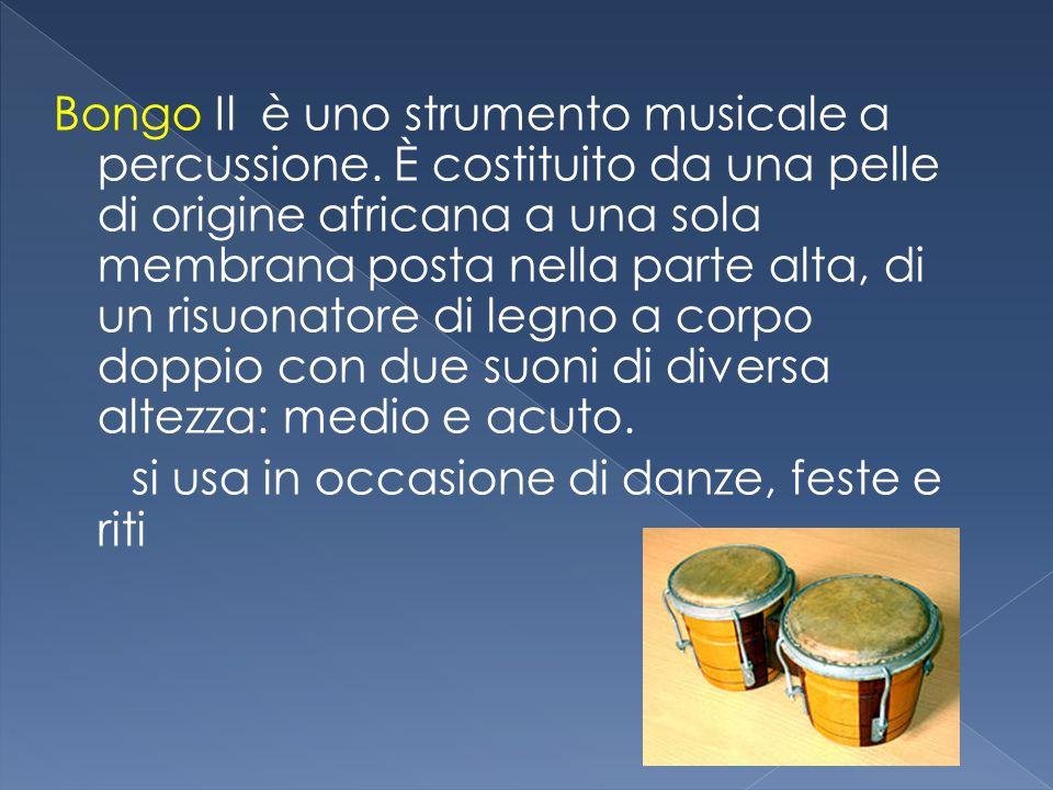 Bongo Il è uno strumento musicale a percussione. È costituito da una pelle di origine africana a una sola membrana posta nella parte alta, di un risuo