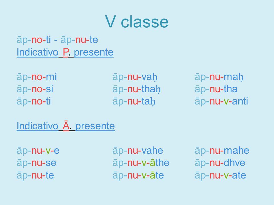 V classe āp-no-ti - āp-nu-te Indicativo P.