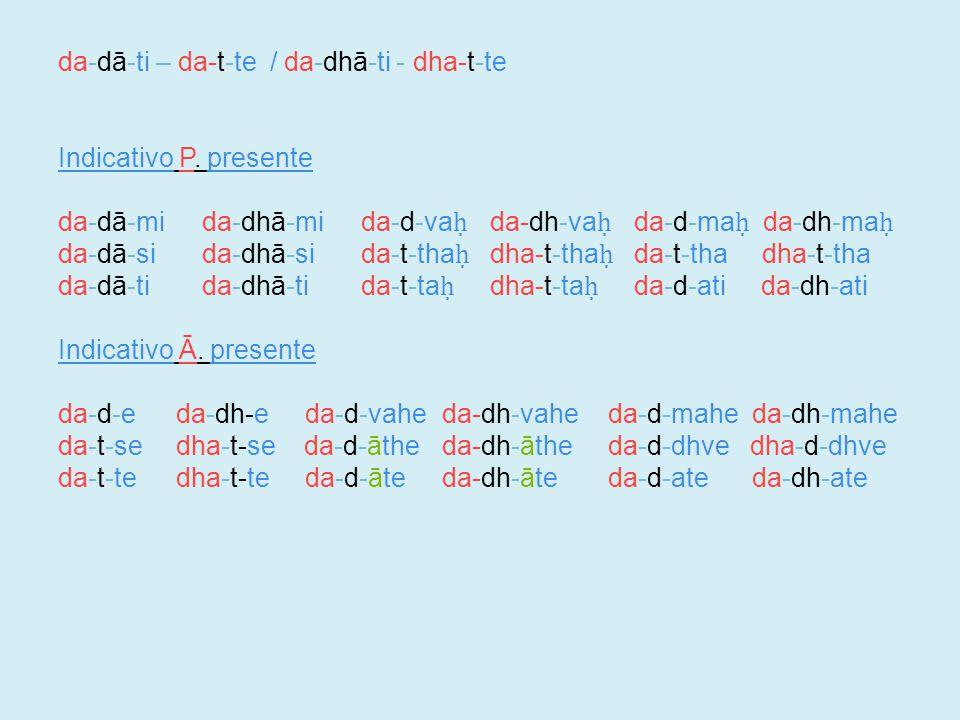 da-dā-ti – da-t-te / da-dhā-ti - dha-t-te Indicativo P.