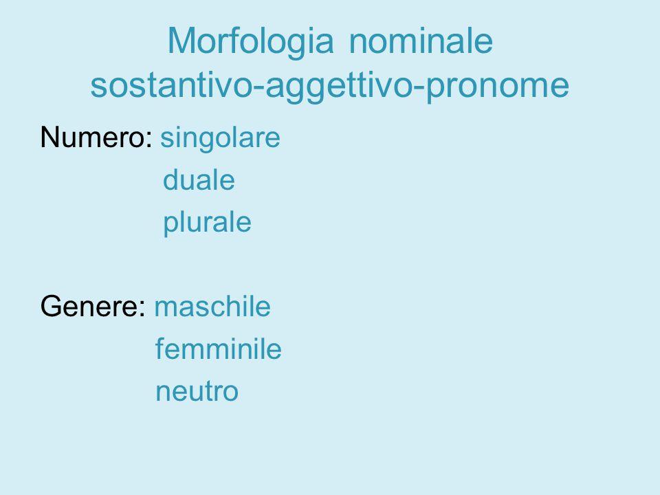 Morfologia nominale sostantivo-aggettivo-pronome Numero: singolare duale plurale Genere: maschile femminile neutro