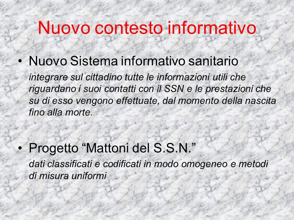 Nuovo contesto informativo Nuovo Sistema informativo sanitario integrare sul cittadino tutte le informazioni utili che riguardano i suoi contatti con