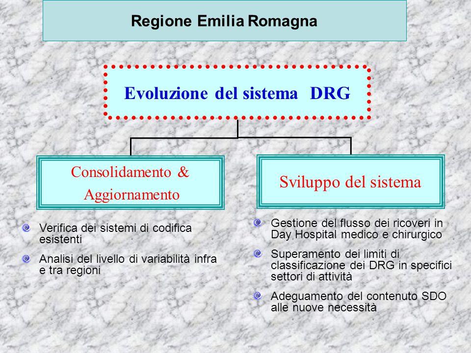 Evoluzione del sistema DRG nazionale Sistema di codifica e classificazione diagnosi e interventi Versione del Grouper 2° Manutenzione Supportare il processo con formazione Sostegno alla adozione della ICD-IX-CM 2002 1° Aggiornamento