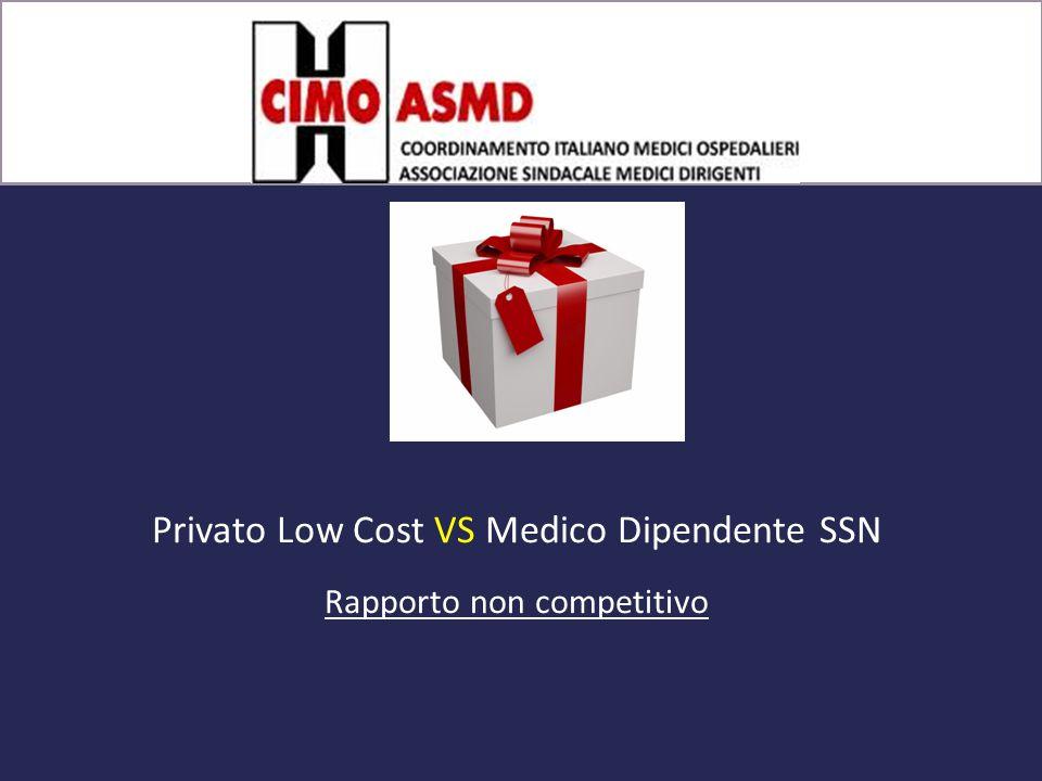 Pacco regalo Privato Low Cost VS Medico Dipendente SSN Rapporto non competitivo