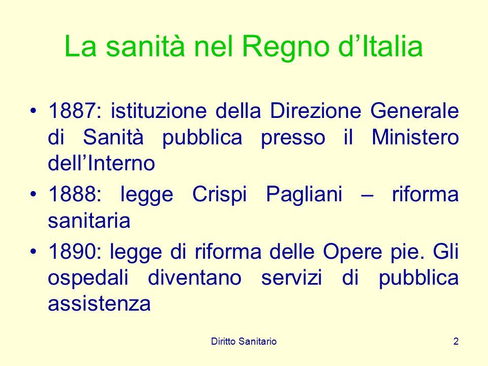 Diritto Sanitario2 La sanità nel Regno d'Italia 1887: istituzione della Direzione Generale di Sanità pubblica presso il Ministero dell'Interno 1888: l