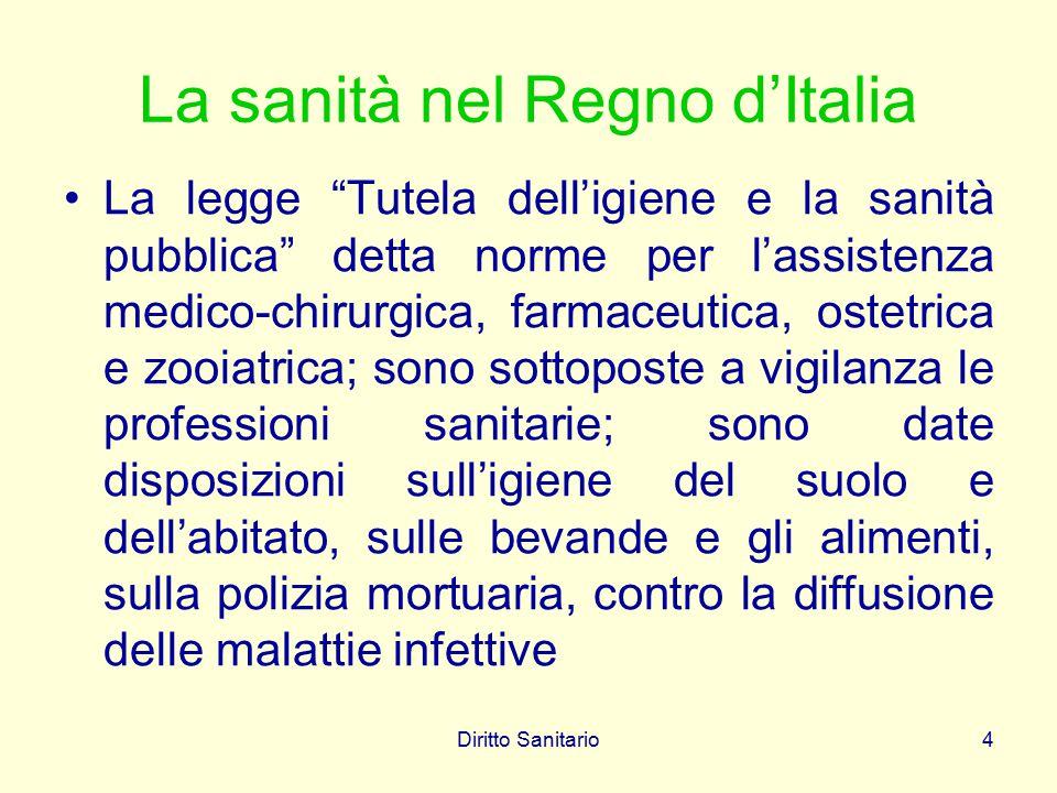 """Diritto Sanitario4 La sanità nel Regno d'Italia La legge """"Tutela dell'igiene e la sanità pubblica"""" detta norme per l'assistenza medico-chirurgica, far"""