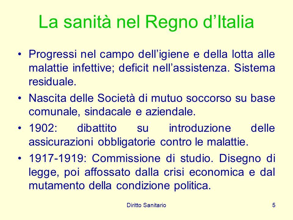 Diritto Sanitario5 La sanità nel Regno d'Italia Progressi nel campo dell'igiene e della lotta alle malattie infettive; deficit nell'assistenza. Sistem