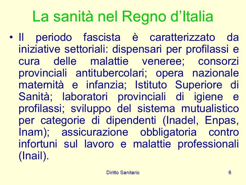 Diritto Sanitario6 La sanità nel Regno d'Italia Il periodo fascista è caratterizzato da iniziative settoriali: dispensari per profilassi e cura delle
