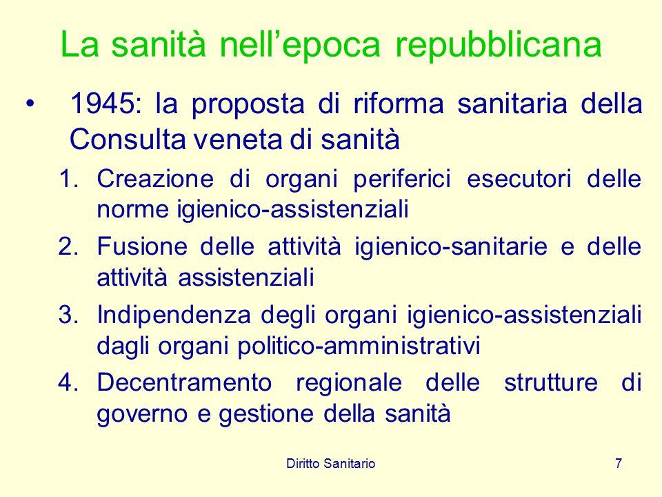 Diritto Sanitario8 La sanità nell'epoca repubblicana Il sistema sanitario italiano continuerà, per tre decenni, a basarsi sulle casse mutue, sugli ospedali (riorganizzati dalla legge Mariotti del 1968), sugli Enti locali (responsabili dell'igiene pubblica, degli ospedali psichiatrici e dell'assistenza ai poveri)
