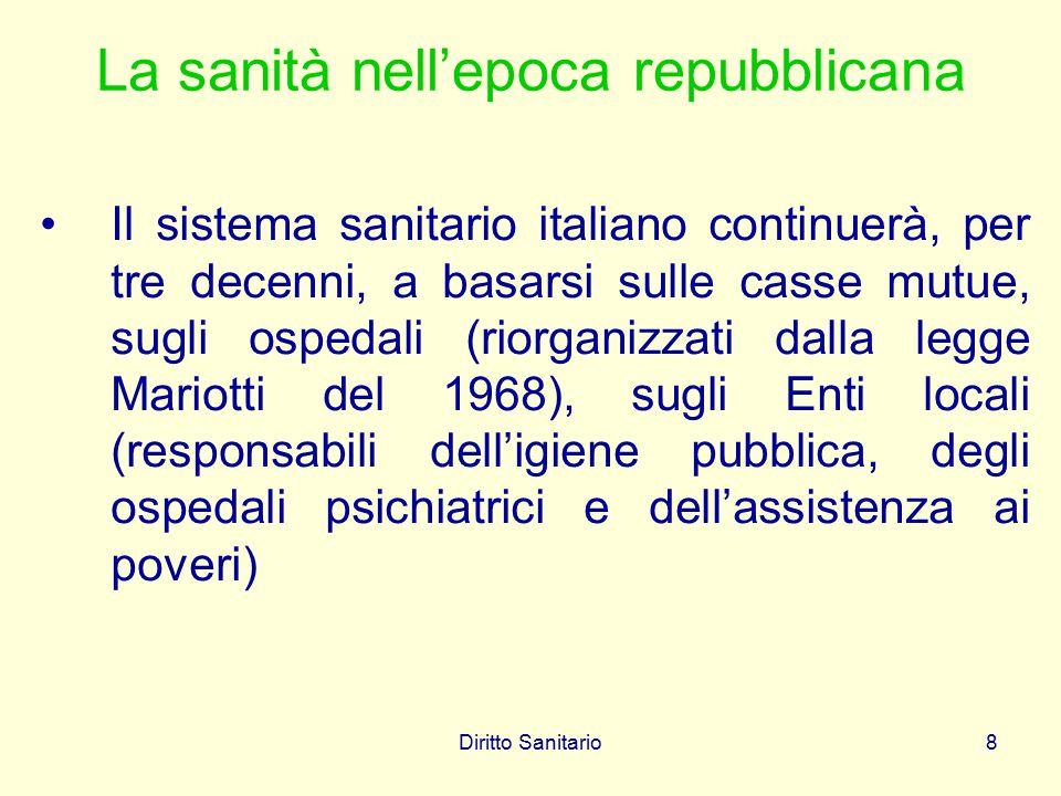 Diritto Sanitario8 La sanità nell'epoca repubblicana Il sistema sanitario italiano continuerà, per tre decenni, a basarsi sulle casse mutue, sugli osp