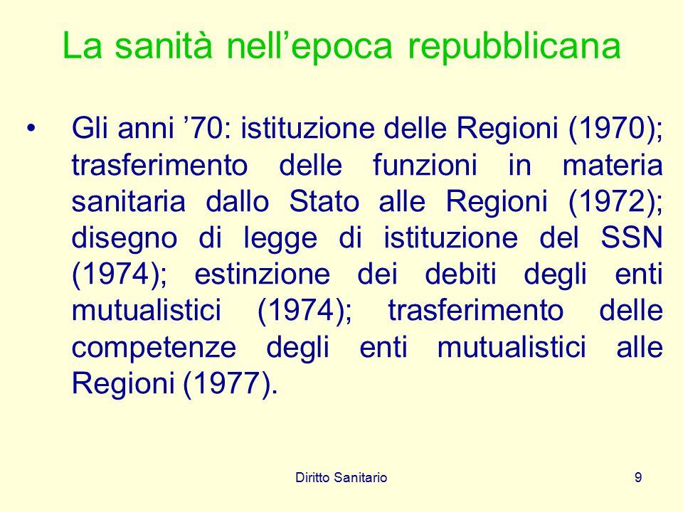 Diritto Sanitario9 La sanità nell'epoca repubblicana Gli anni '70: istituzione delle Regioni (1970); trasferimento delle funzioni in materia sanitaria