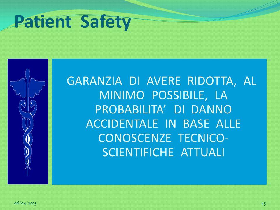 Patient Safety GARANZIA DI AVERE RIDOTTA, AL MINIMO POSSIBILE, LA PROBABILITA' DI DANNO ACCIDENTALE IN BASE ALLE CONOSCENZE TECNICO- SCIENTIFICHE ATTU