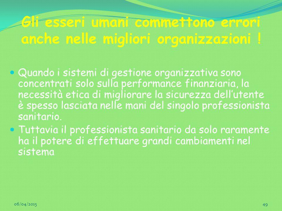 Gli esseri umani commettono errori anche nelle migliori organizzazioni ! Quando i sistemi di gestione organizzativa sono concentrati solo sulla perfor
