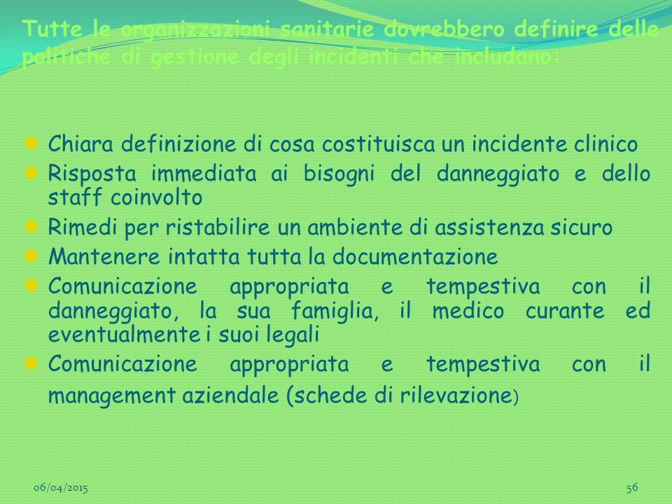 Tutte le organizzazioni sanitarie dovrebbero definire delle politiche di gestione degli incidenti che includano: Chiara definizione di cosa costituisc