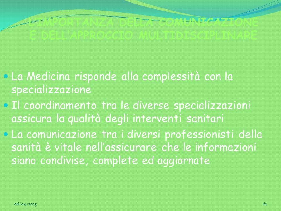 L'IMPORTANZA DELLA COMUNICAZIONE E DELL'APPROCCIO MULTIDISCIPLINARE La Medicina risponde alla complessità con la specializzazione Il coordinamento tra