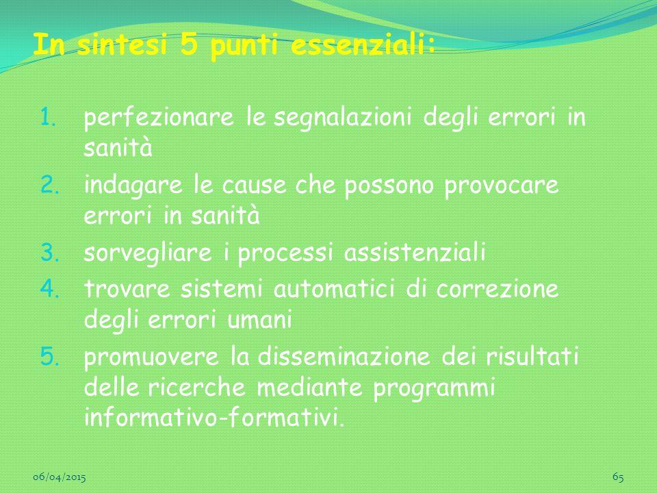 In sintesi 5 punti essenziali: 1. perfezionare le segnalazioni degli errori in sanità 2. indagare le cause che possono provocare errori in sanità 3. s
