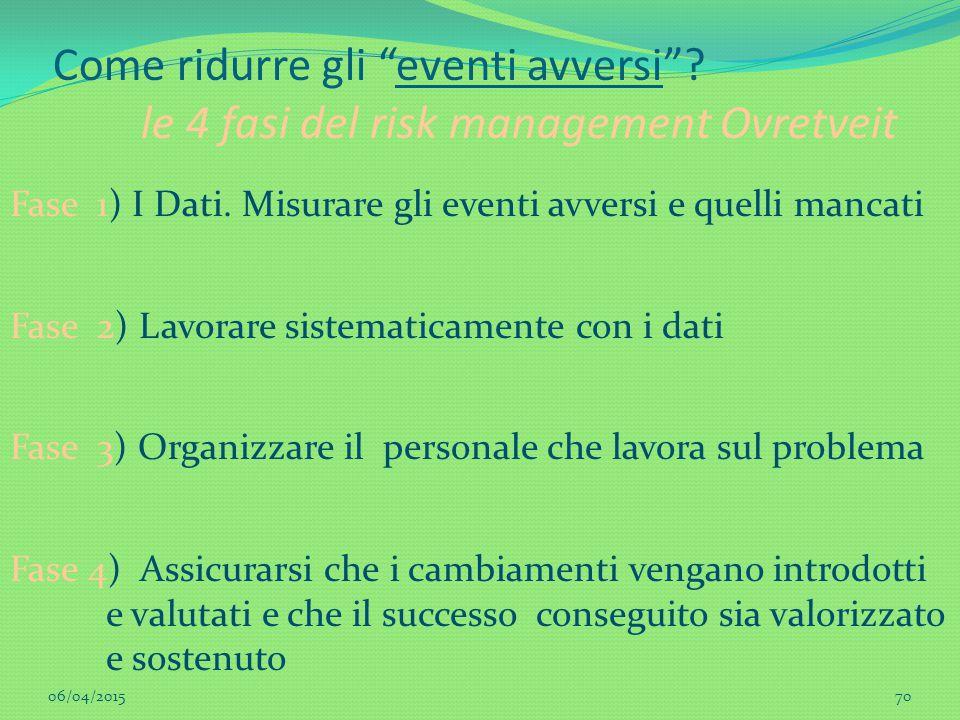 """70 Come ridurre gli """"eventi avversi""""? le 4 fasi del risk management Ovretveit Fase 1) I Dati. Misurare gli eventi avversi e quelli mancati Fase 2) Lav"""