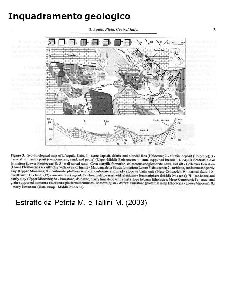 Inquadramento geologico Estratto da Petitta M. e Tallini M. (2003)
