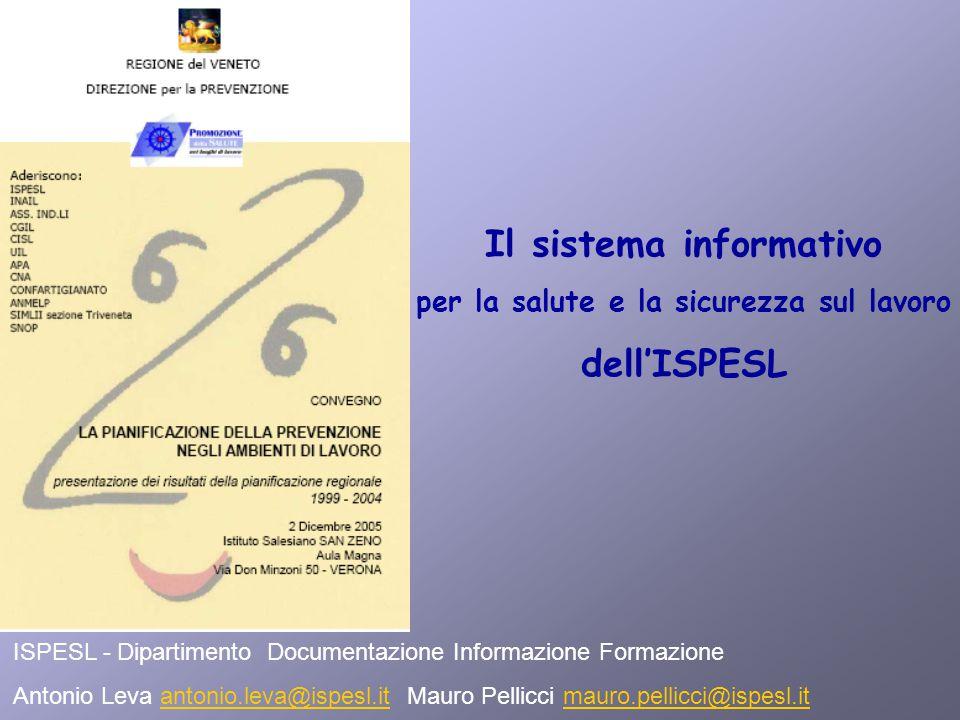 Il sistema informativo per la salute e la sicurezza sul lavoro dell'ISPESL ISPESL - Dipartimento Documentazione Informazione Formazione Antonio Leva antonio.leva@ispesl.it Mauro Pellicci mauro.pellicci@ispesl.itantonio.leva@ispesl.itmauro.pellicci@ispesl.it