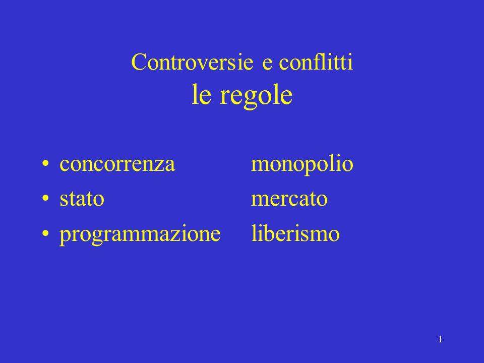 1 Controversie e conflitti le regole concorrenza stato programmazione monopolio mercato liberismo
