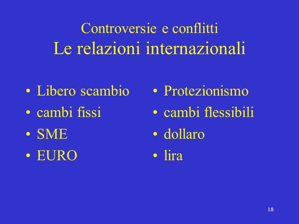18 Controversie e conflitti Le relazioni internazionali Libero scambio cambi fissi SME EURO Protezionismo cambi flessibili dollaro lira