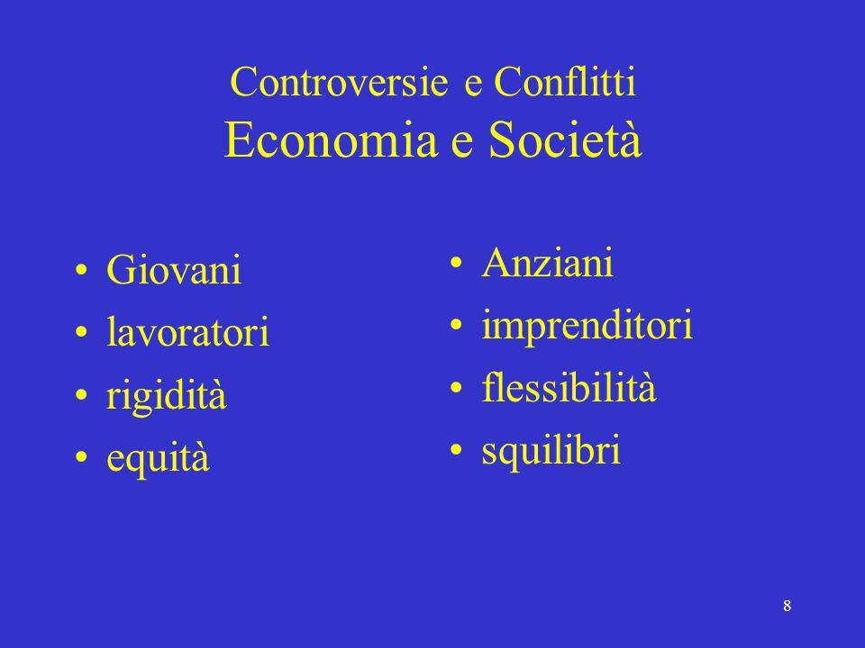 8 Controversie e Conflitti Economia e Società Giovani lavoratori rigidità equità Anziani imprenditori flessibilità squilibri