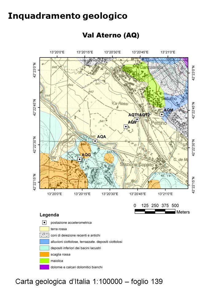 Inquadramento geologico Carta geologica d'Italia 1:100000 – foglio 139