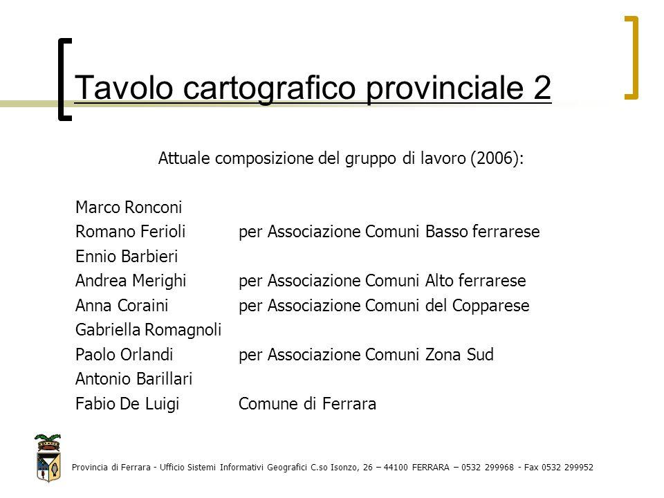 Tavolo cartografico provinciale 2 Attuale composizione del gruppo di lavoro (2006): Marco Ronconi Romano Ferioli per Associazione Comuni Basso ferrare