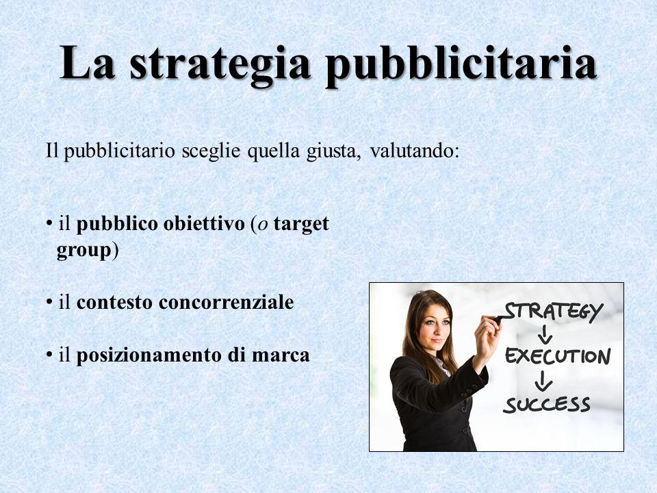 La strategia pubblicitaria Il pubblicitario sceglie quella giusta, valutando: il pubblico obiettivo (o target group) il contesto concorrenziale il pos