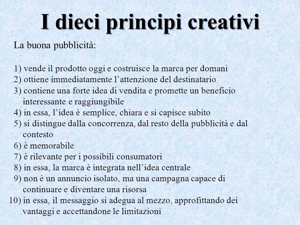 I dieci principi creativi La buona pubblicità: 1) vende il prodotto oggi e costruisce la marca per domani 2) ottiene immediatamente l'attenzione del d