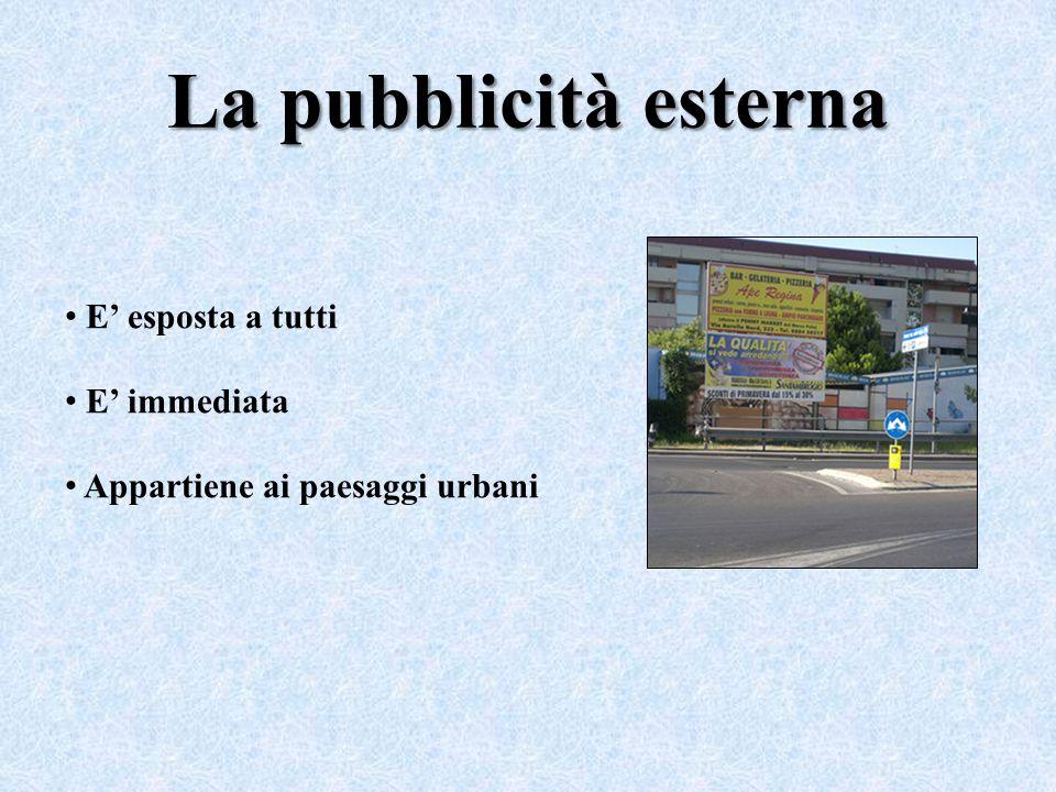 La pubblicità esterna E' esposta a tutti E' immediata Appartiene ai paesaggi urbani