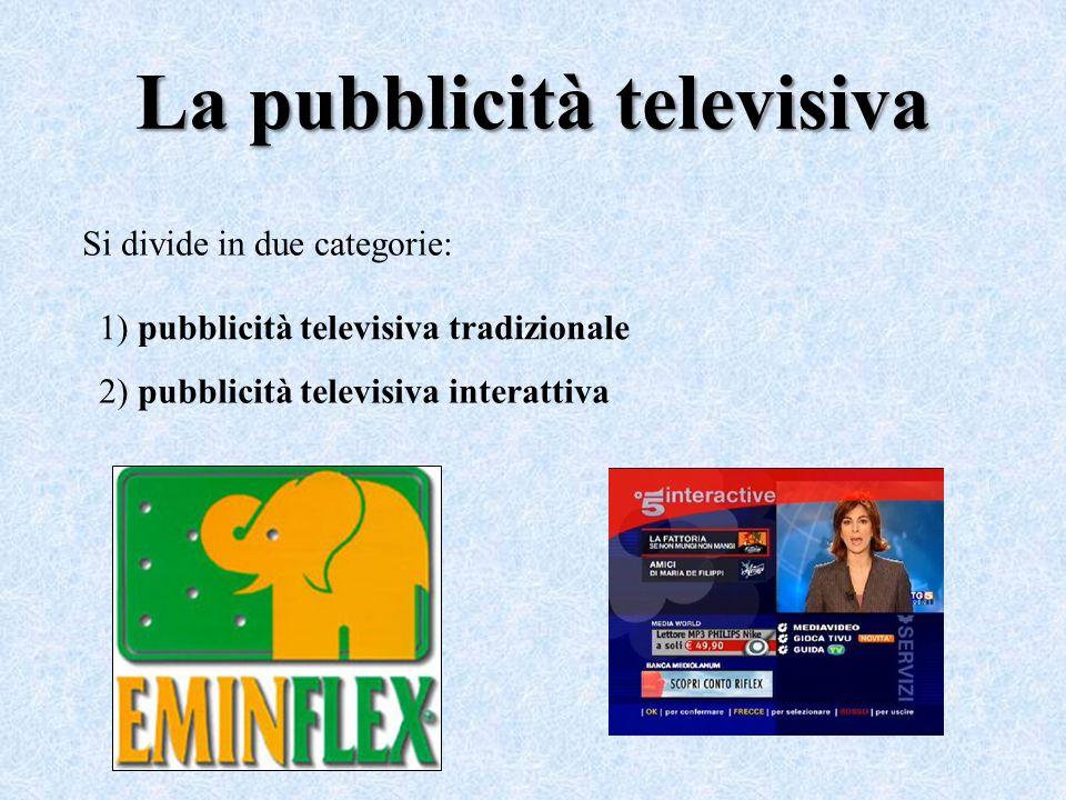 La pubblicità televisiva Si divide in due categorie: 1) pubblicità televisiva tradizionale 2) pubblicità televisiva interattiva