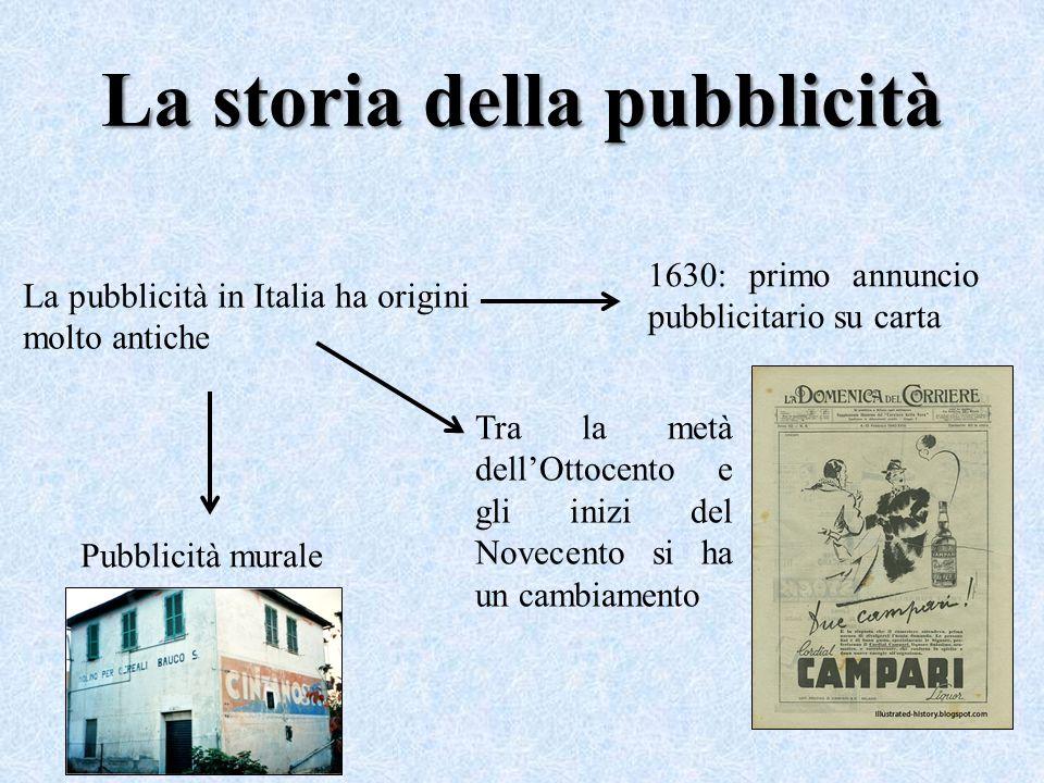La storia della pubblicità La pubblicità in Italia ha origini molto antiche 1630: primo annuncio pubblicitario su carta Tra la metà dell'Ottocento e g