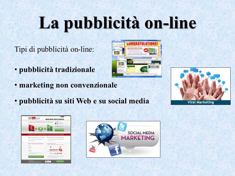La pubblicità on-line Tipi di pubblicità on-line: pubblicità tradizionale marketing non convenzionale pubblicità su siti Web e su social media