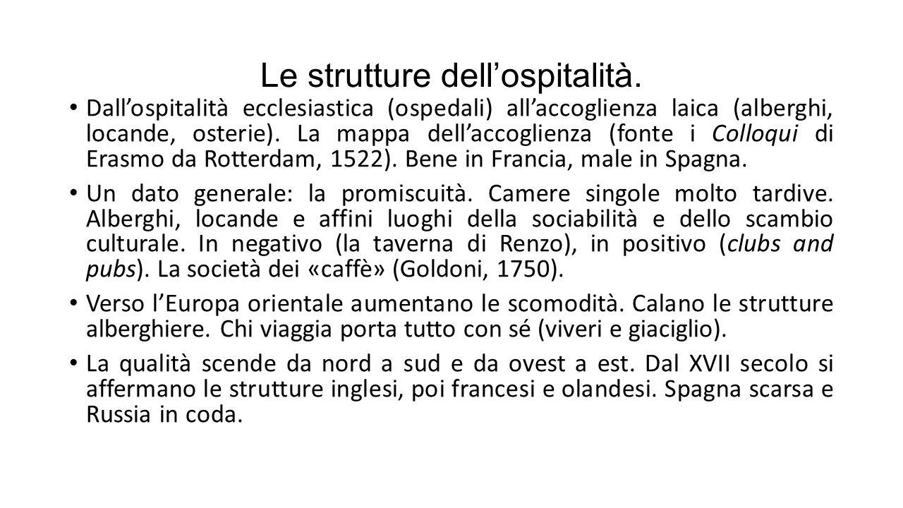 Le strutture dell'ospitalità. Dall'ospitalità ecclesiastica (ospedali) all'accoglienza laica (alberghi, locande, osterie). La mappa dell'accoglienza (