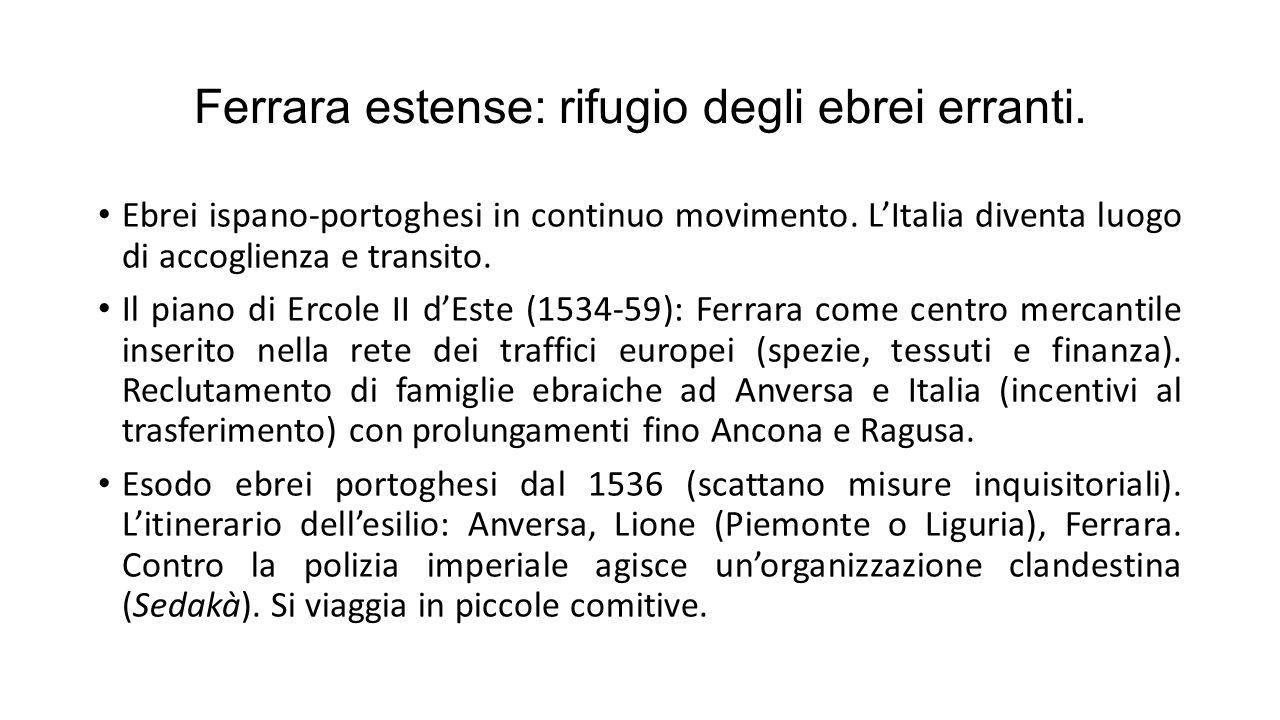 Ferrara estense: rifugio degli ebrei erranti. Ebrei ispano-portoghesi in continuo movimento. L'Italia diventa luogo di accoglienza e transito. Il pian