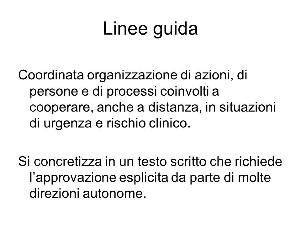 Linee guida Coordinata organizzazione di azioni, di persone e di processi coinvolti a cooperare, anche a distanza, in situazioni di urgenza e rischio clinico.