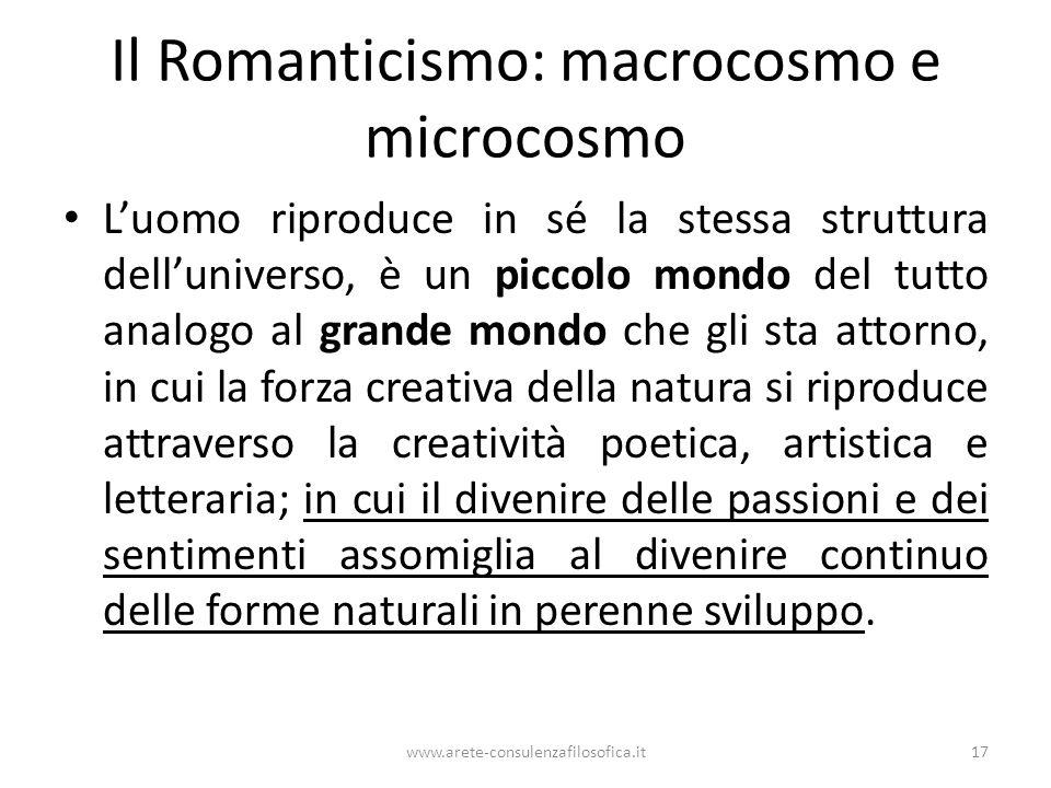 Il Romanticismo: macrocosmo e microcosmo L'uomo riproduce in sé la stessa struttura dell'universo, è un piccolo mondo del tutto analogo al grande mond