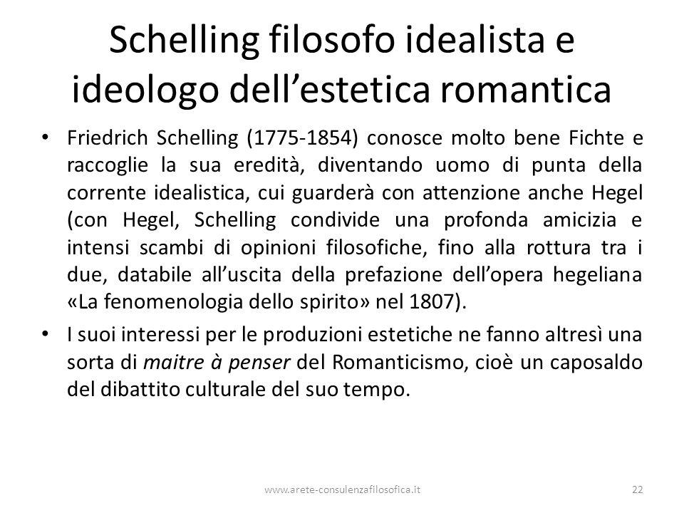 Schelling filosofo idealista e ideologo dell'estetica romantica Friedrich Schelling (1775-1854) conosce molto bene Fichte e raccoglie la sua eredità,