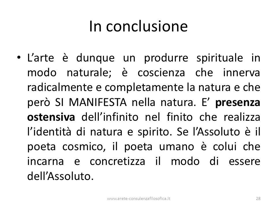 In conclusione L'arte è dunque un produrre spirituale in modo naturale; è coscienza che innerva radicalmente e completamente la natura e che però SI M