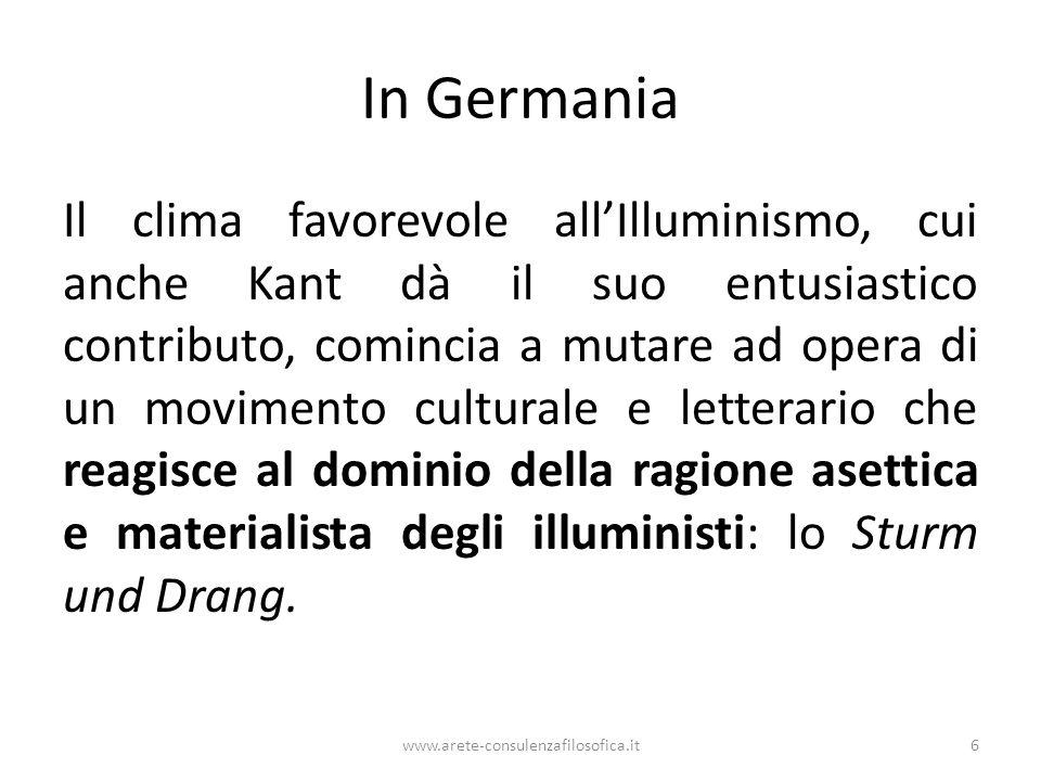 In Germania Il clima favorevole all'Illuminismo, cui anche Kant dà il suo entusiastico contributo, comincia a mutare ad opera di un movimento cultural