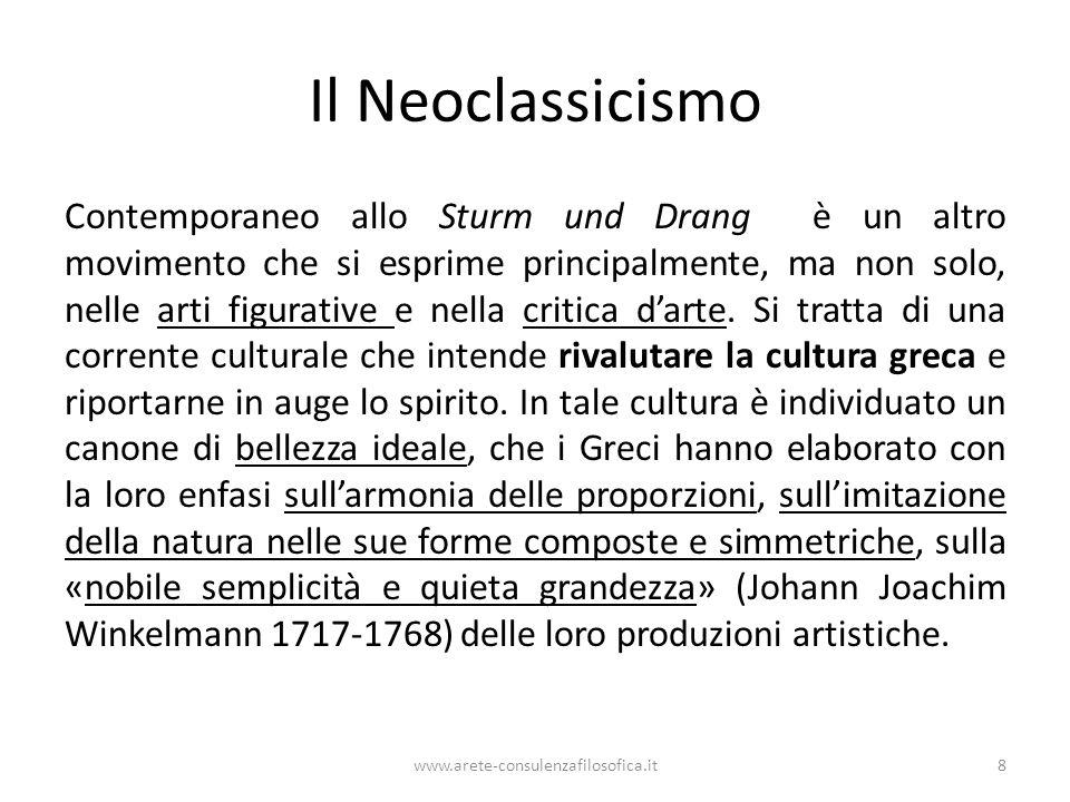 Il Neoclassicismo Contemporaneo allo Sturm und Drang è un altro movimento che si esprime principalmente, ma non solo, nelle arti figurative e nella cr