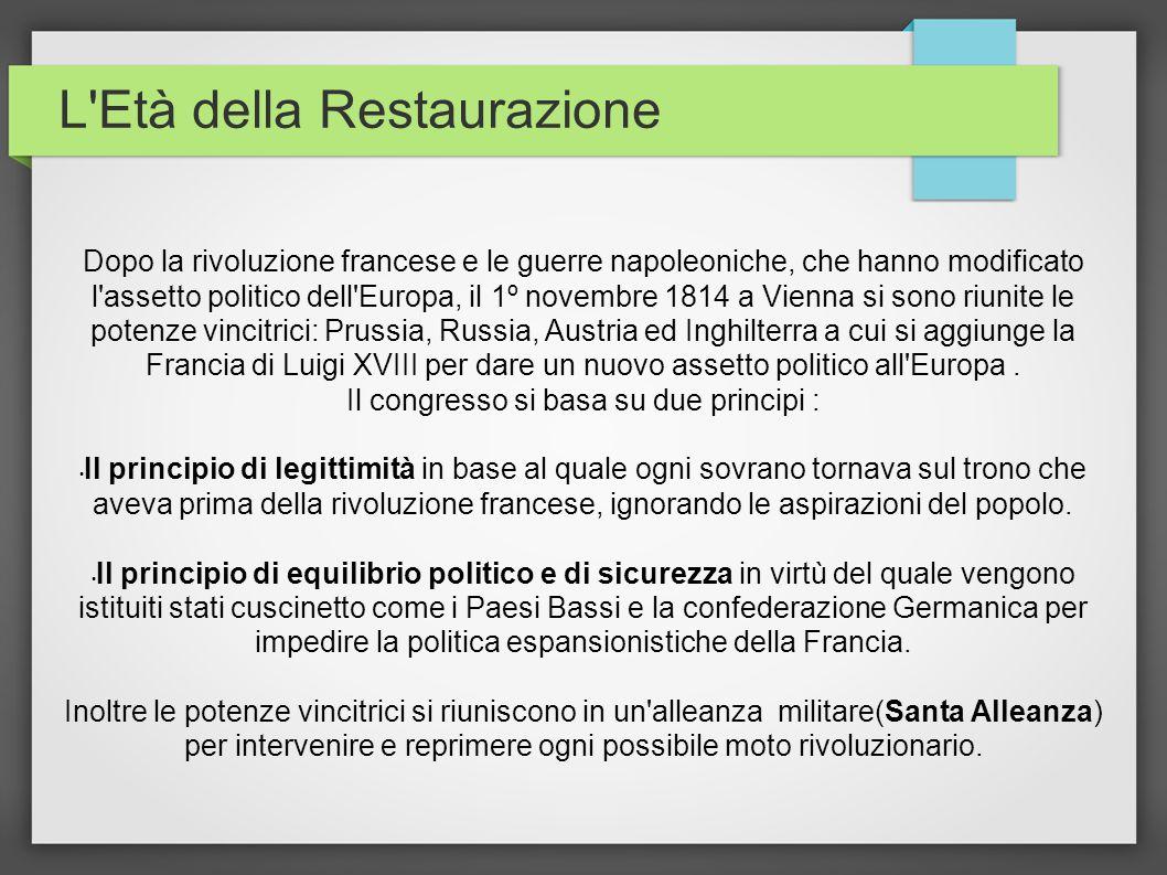 L'Età della Restaurazione Dopo la rivoluzione francese e le guerre napoleoniche, che hanno modificato l'assetto politico dell'Europa, il 1º novembre 1