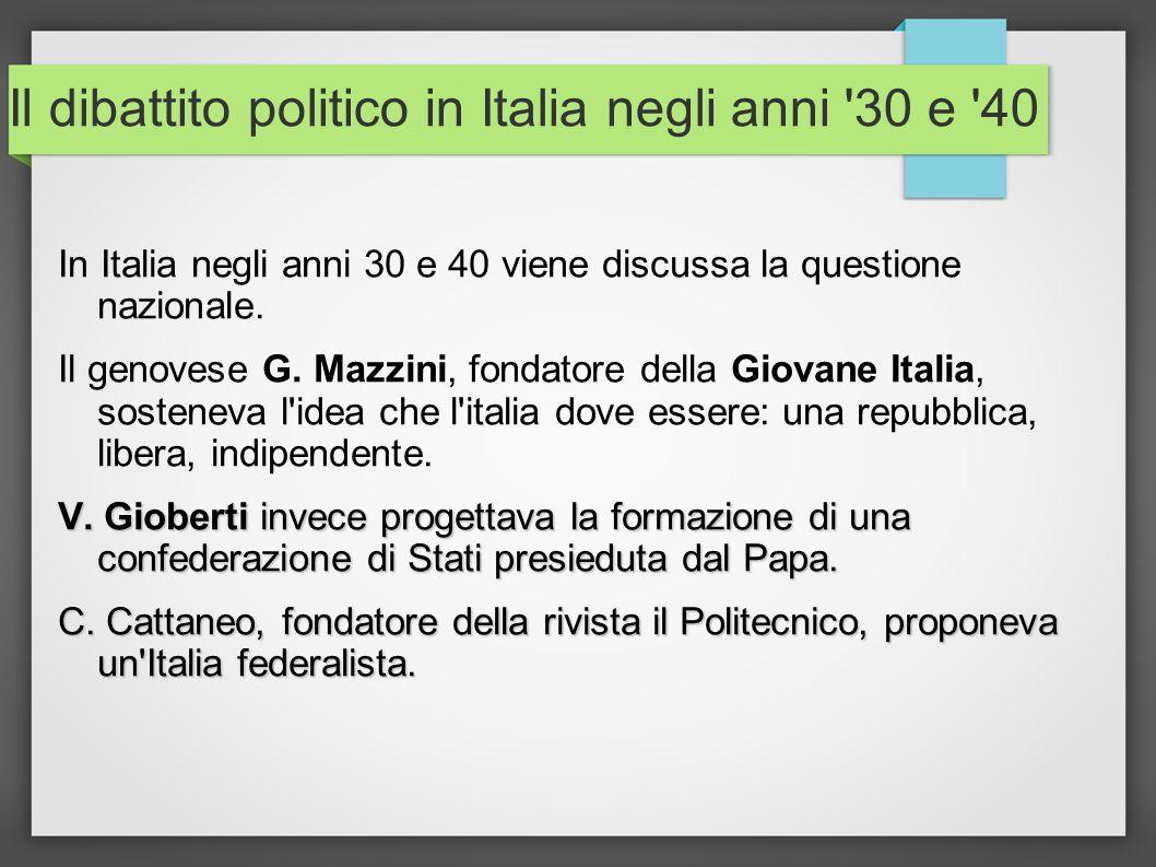Il dibattito politico in Italia negli anni '30 e '40 In Italia negli anni 30 e 40 viene discussa la questione nazionale. Il genovese G. Mazzini, fonda