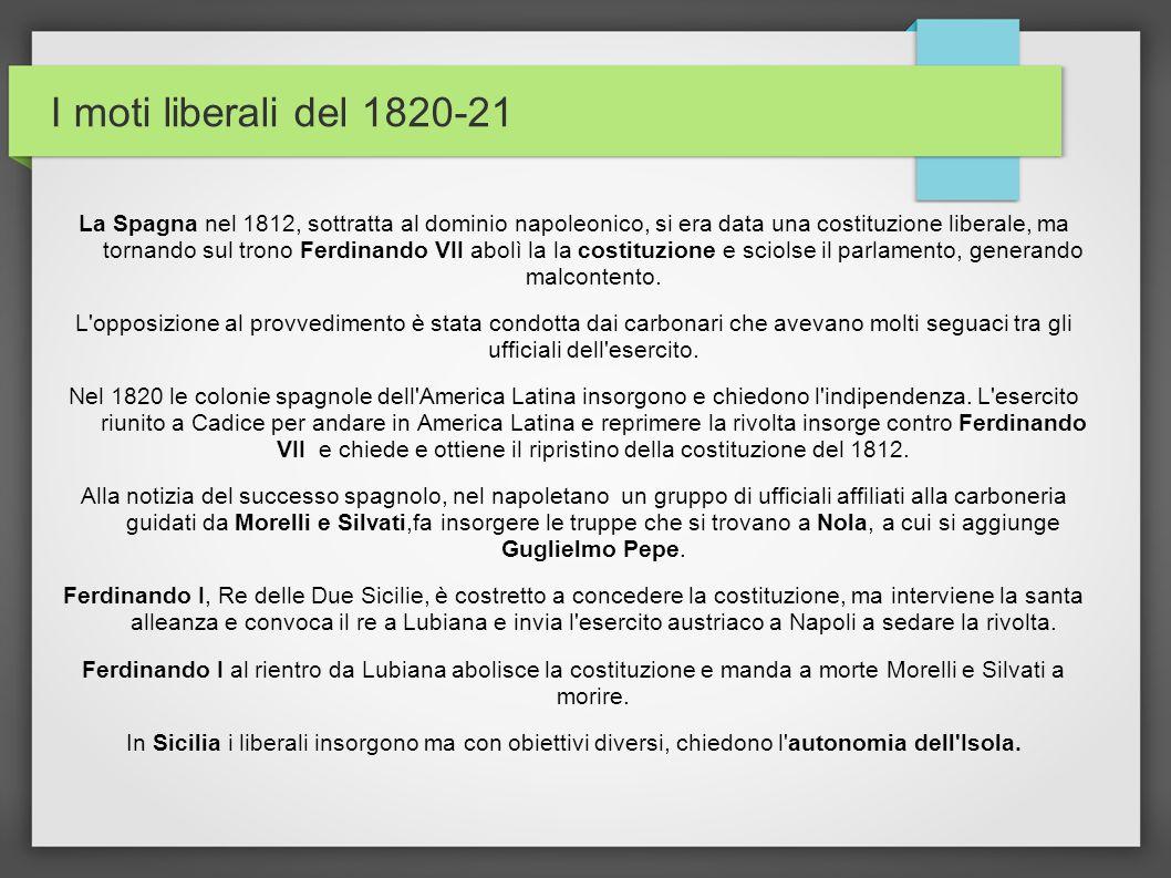 I moti liberali del 1820-21 La Spagna nel 1812, sottratta al dominio napoleonico, si era data una costituzione liberale, ma tornando sul trono Ferdina