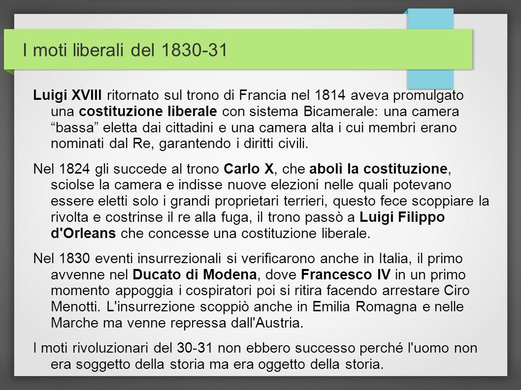 I moti liberali del 1830-31 Luigi XVIII ritornato sul trono di Francia nel 1814 aveva promulgato una costituzione liberale con sistema Bicamerale: una