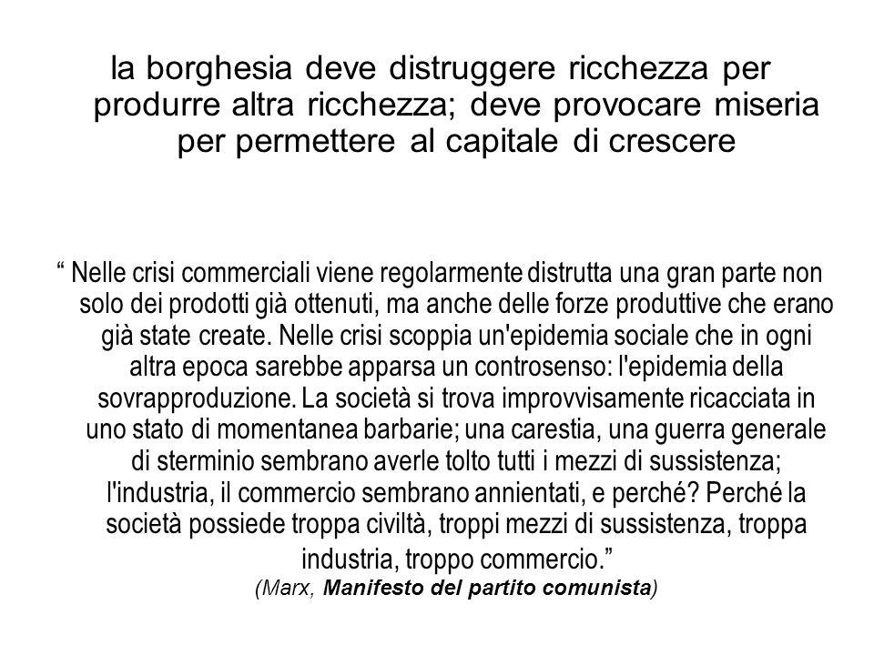 """la borghesia deve distruggere ricchezza per produrre altra ricchezza; deve provocare miseria per permettere al capitale di crescere """" Nelle crisi comm"""