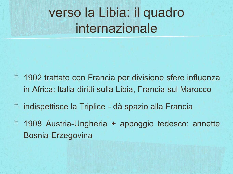 verso la Libia: il quadro internazionale 1902 trattato con Francia per divisione sfere influenza in Africa: Italia diritti sulla Libia, Francia sul Ma