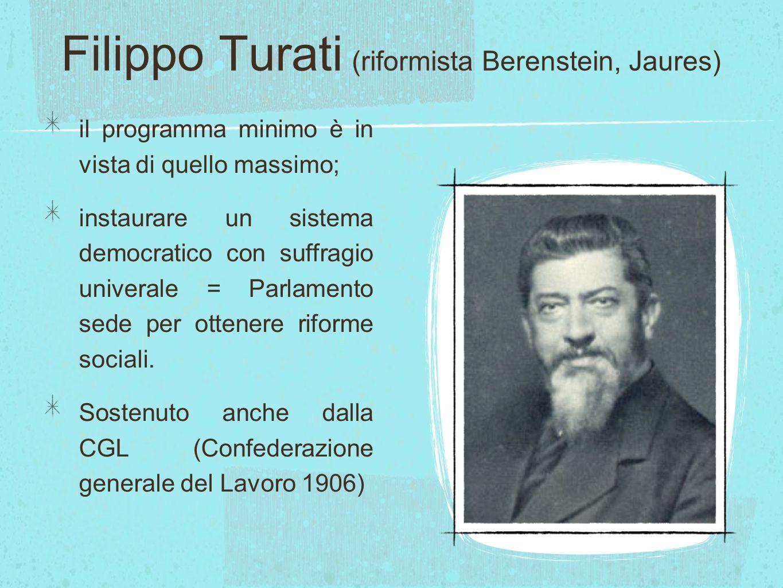 Filippo Turati (riformista Berenstein, Jaures) il programma minimo è in vista di quello massimo; instaurare un sistema democratico con suffragio unive